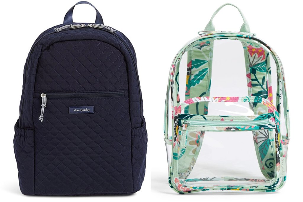 quilted navy backpack and clear backpack with mint floral trim