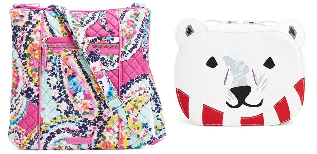 pink paisley crossbody bag and polar bear shaped cosmetic bag