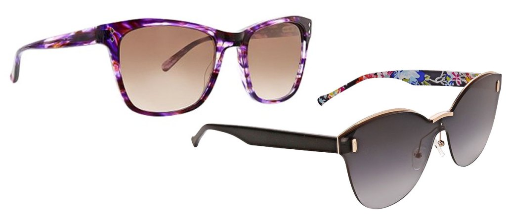 two pairs of vera bradley sunglasses in purple and black with floral print