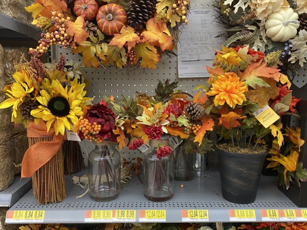 fall harvest flowers in vases in-store at walmart