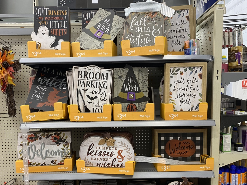 fall harvest and halloween signs in-store at walmart