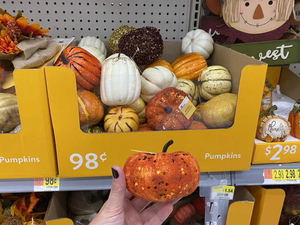 fall gourds and pumpkins in-store at walmart