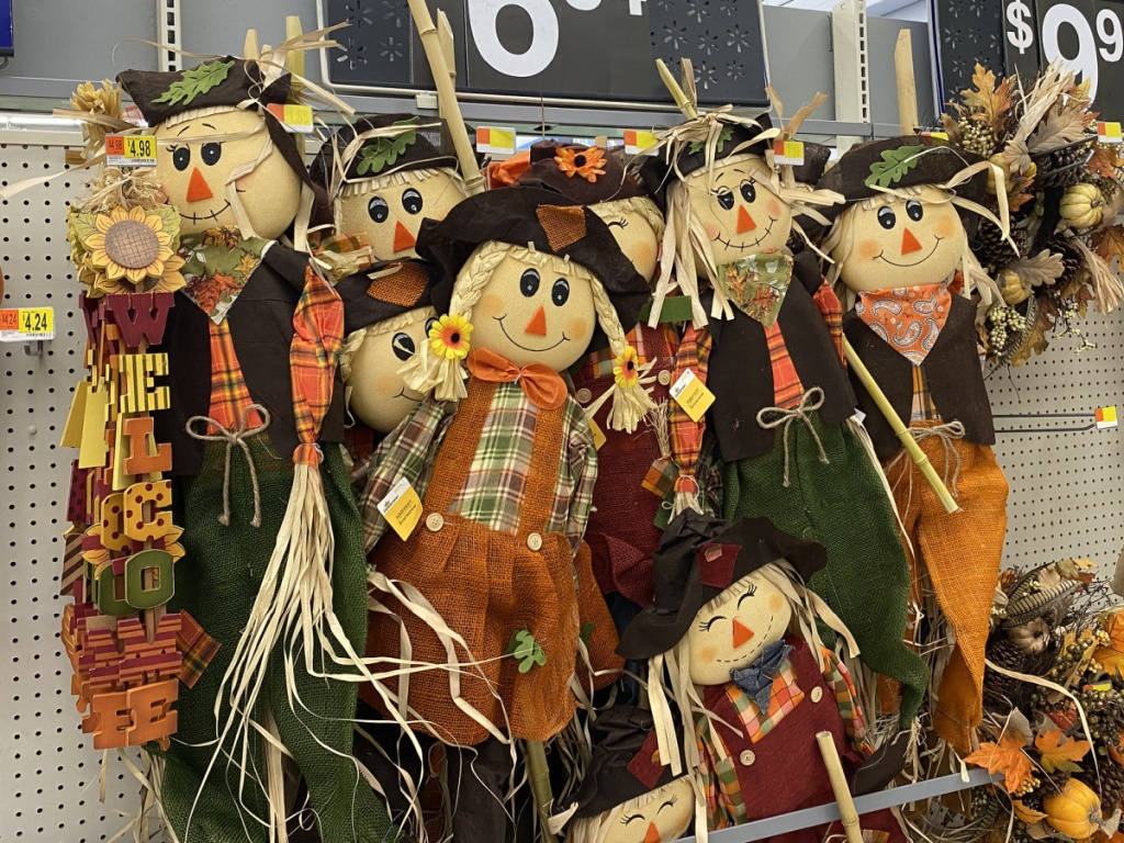 Large 5' scarecrows standing up in store at walmart