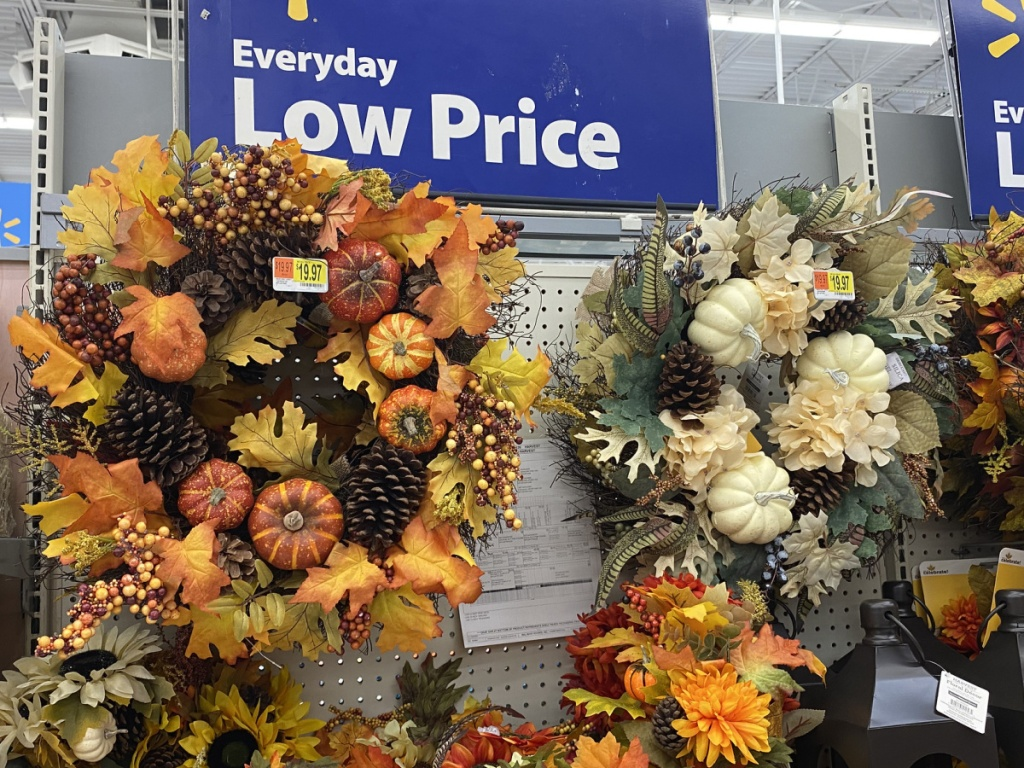 fall harvest wreaths in-store at walmart