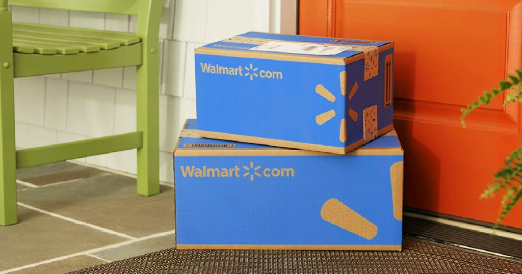 Walmart.com shipping boxes on doorstep