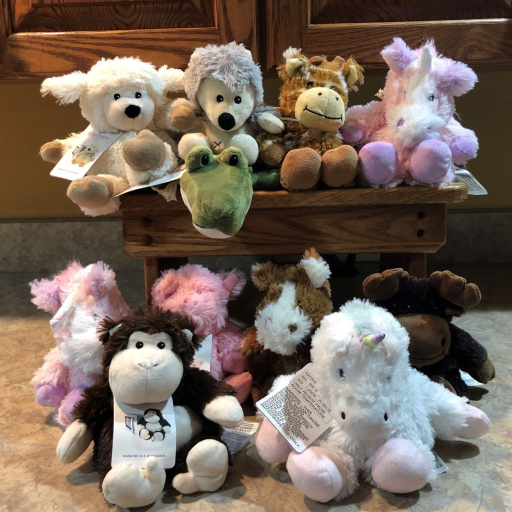 many different Warmies plush toys