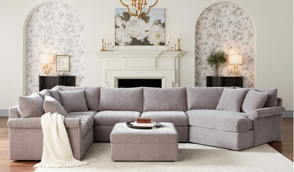 living room with a Wedport 3-Pc. Fabric Sectional Sofa with Armless Apartment Sofa and Chaise