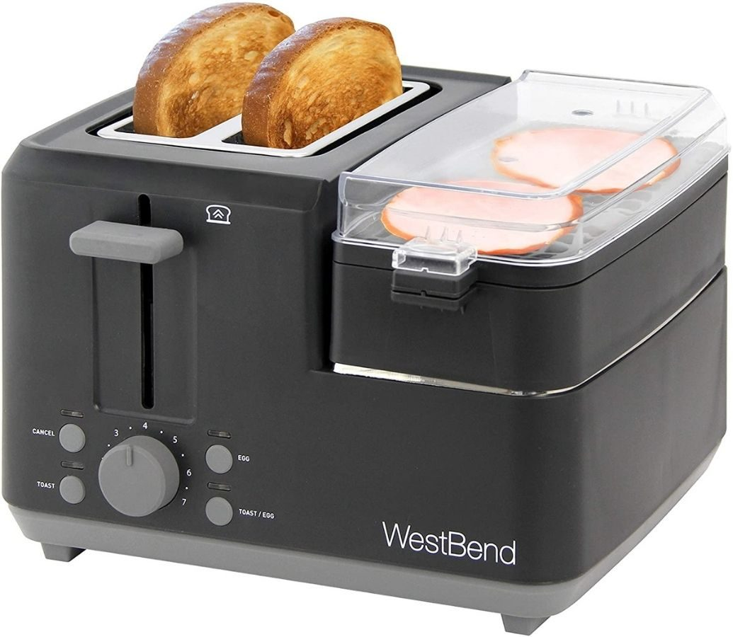 breakfast cooking station with toaster and meat warming tray