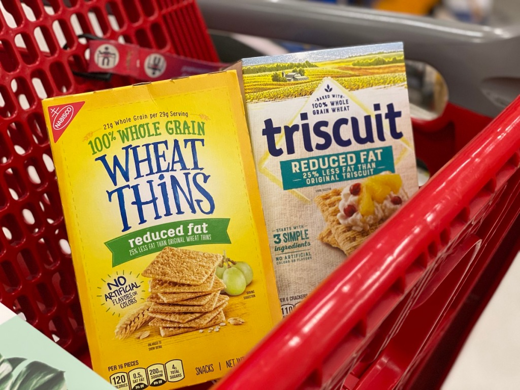 Wheat Thins and Triscuit Crackers in target cart