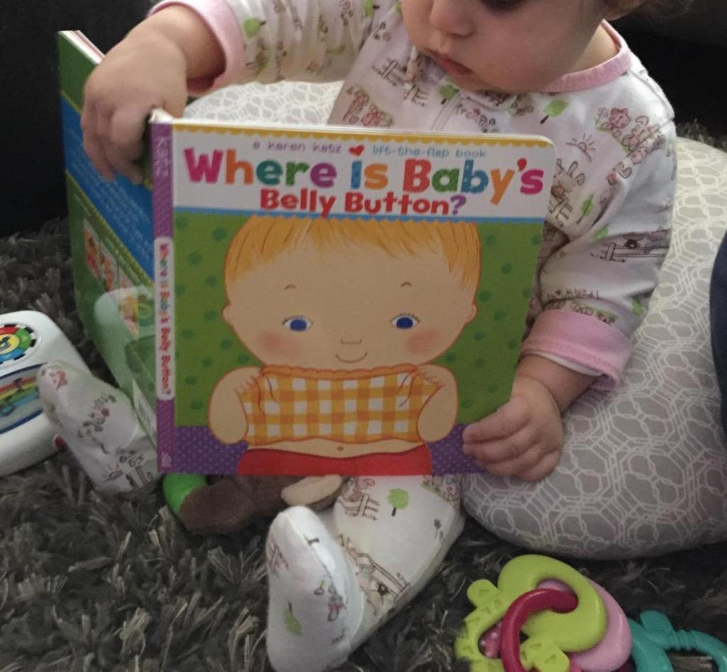 baby holding Where is Babys Belly Button book