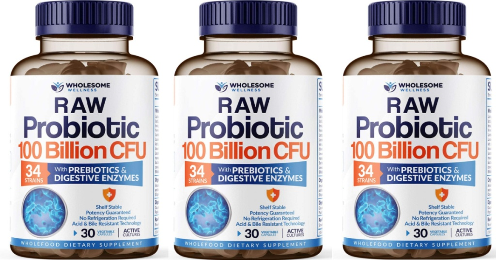 3 bottles of wholesome wellness probiotics lined up next to each other