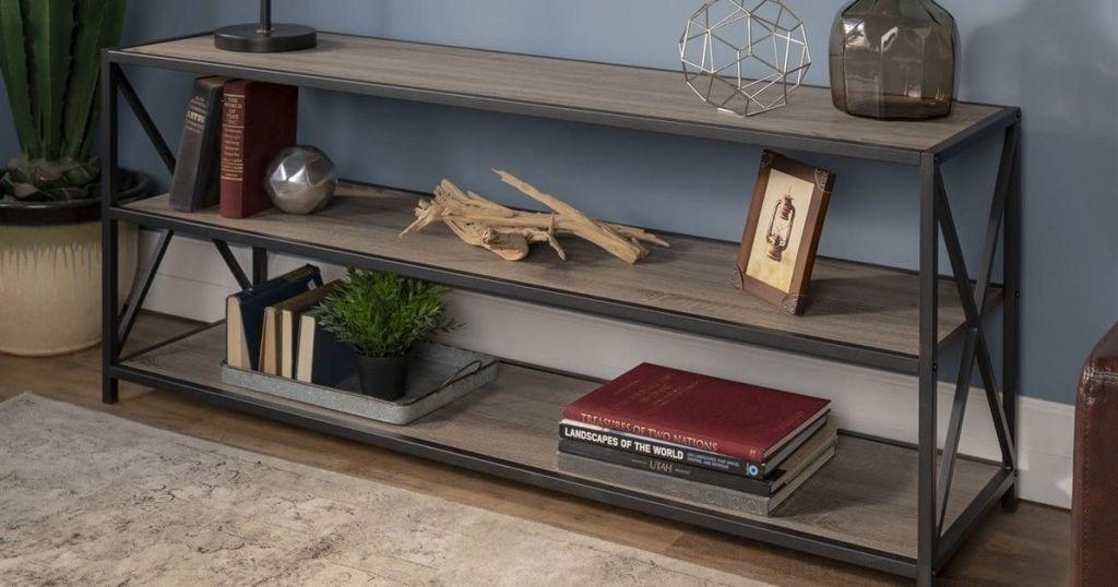 birchwood Wide X-Frame Metal & Wood Storage Shelf