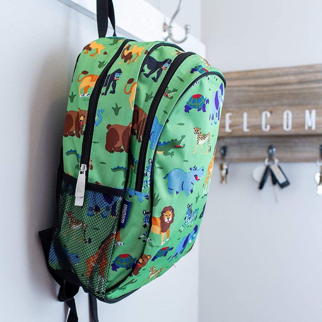 Wildkins wild animal backpack hanging on coat hook