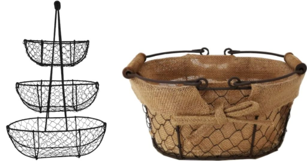 three tired baskets next to a basket with a jute liner