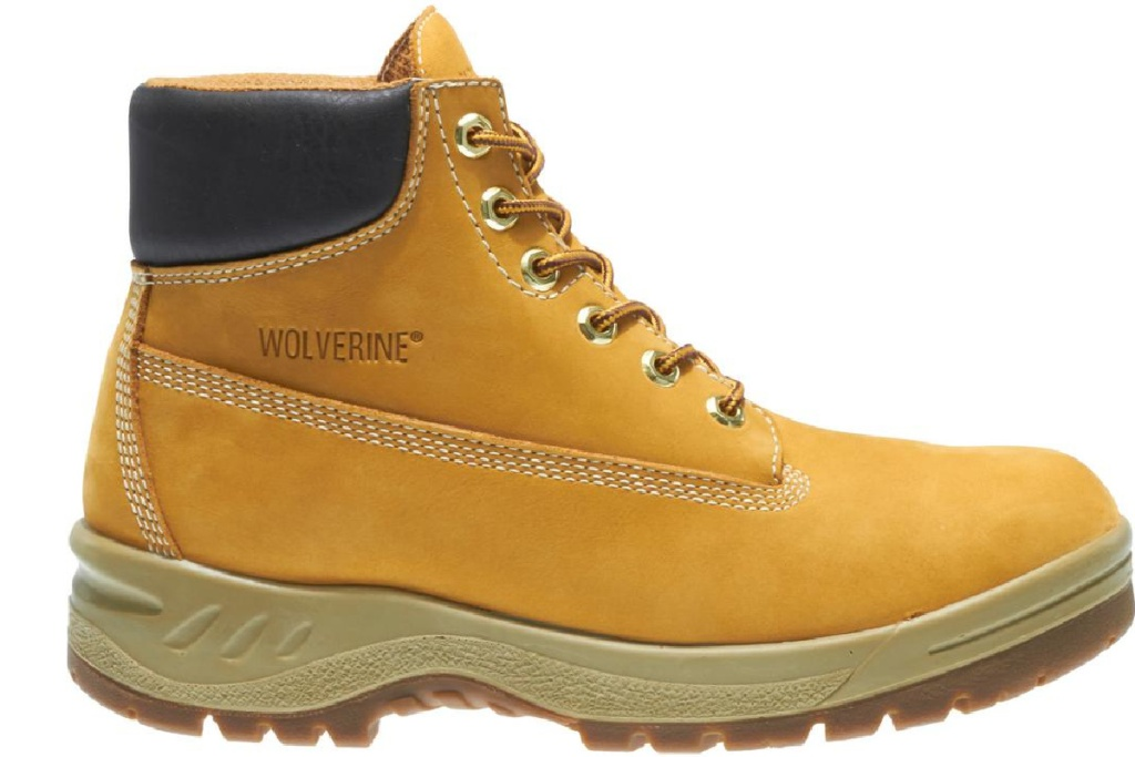 gold leather Wolverine work boots