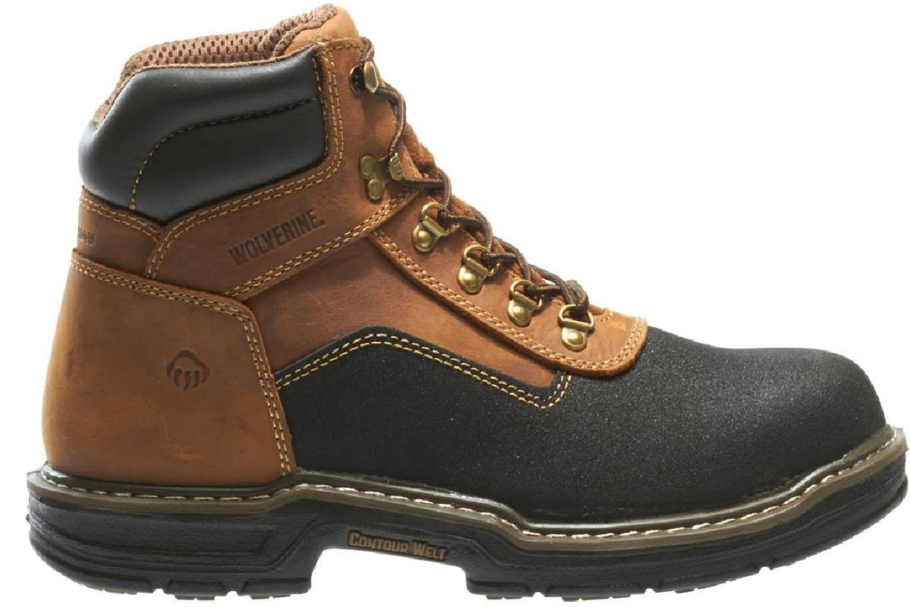 brown and black Wolverine work boots