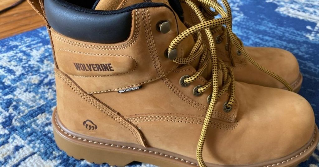 sand colored Wolverine work boots