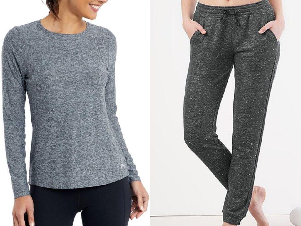 women's shirt and jogging pants