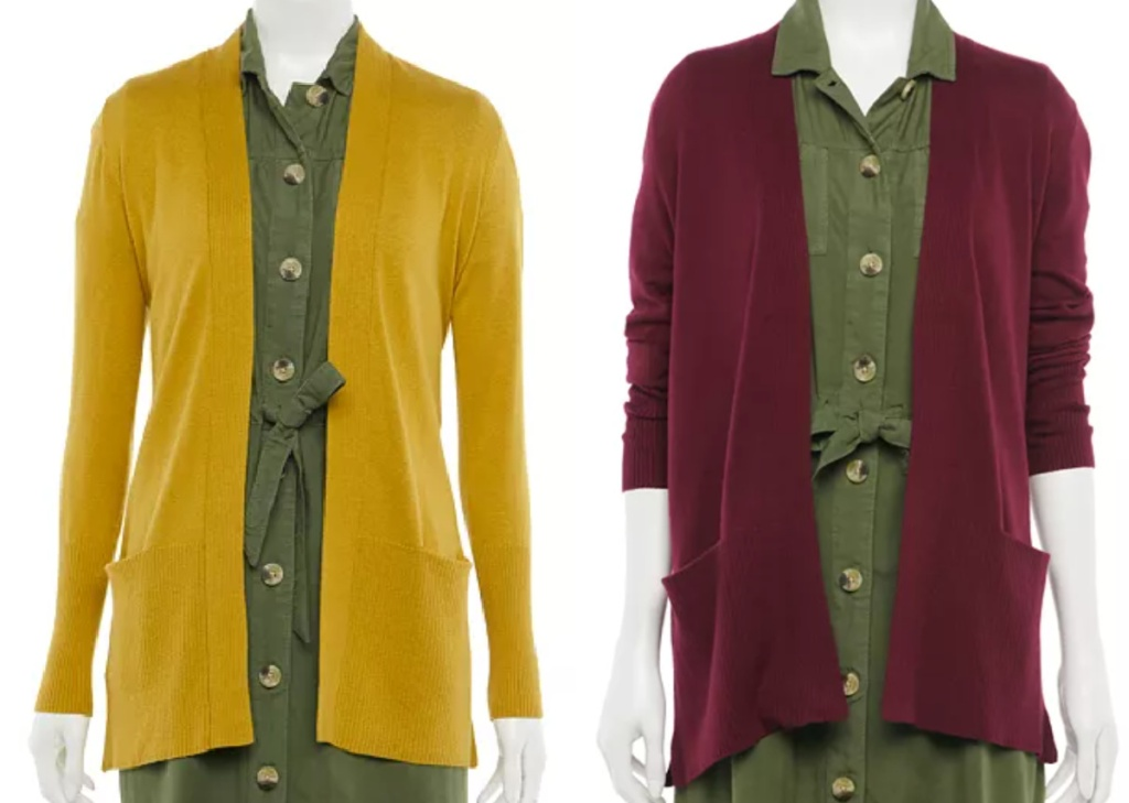 2 fall colored open front cardigans on manequins