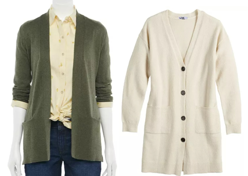 2 open front fall cardigans