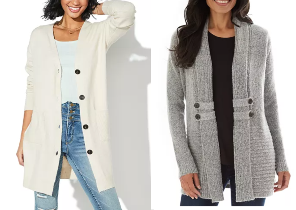 2 women standing next to each other wearing open fall cardigans