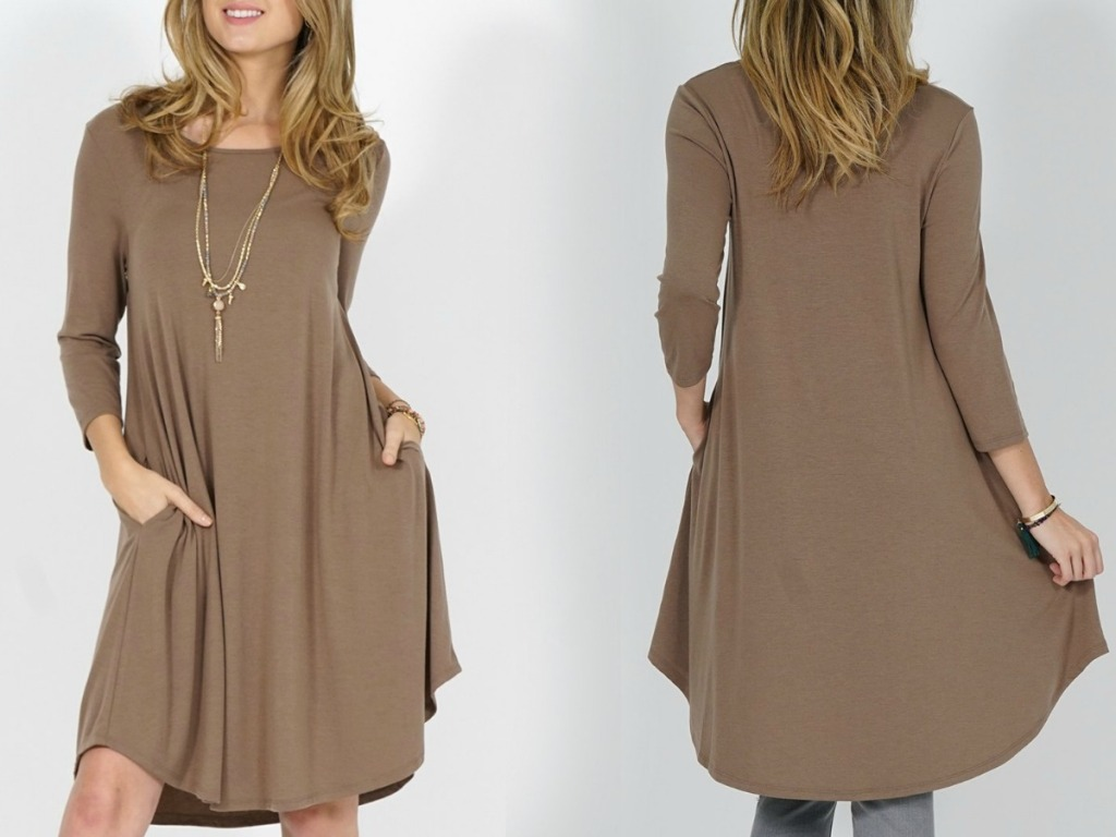 Front and back view of a woman wearing a beige tunic dress