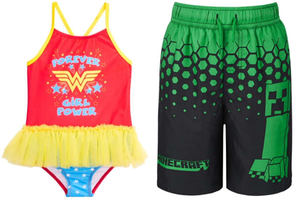 Wonder Woman Swimsuit and Minecraft Suit