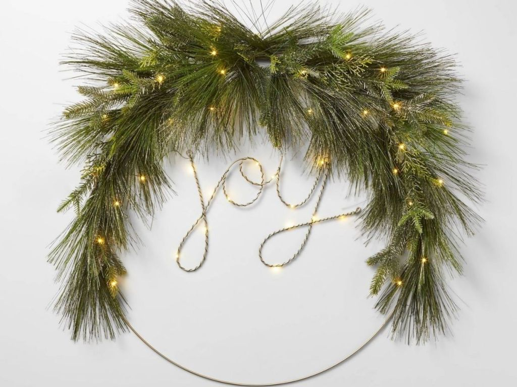 Large metal Joy wreath with LED lights