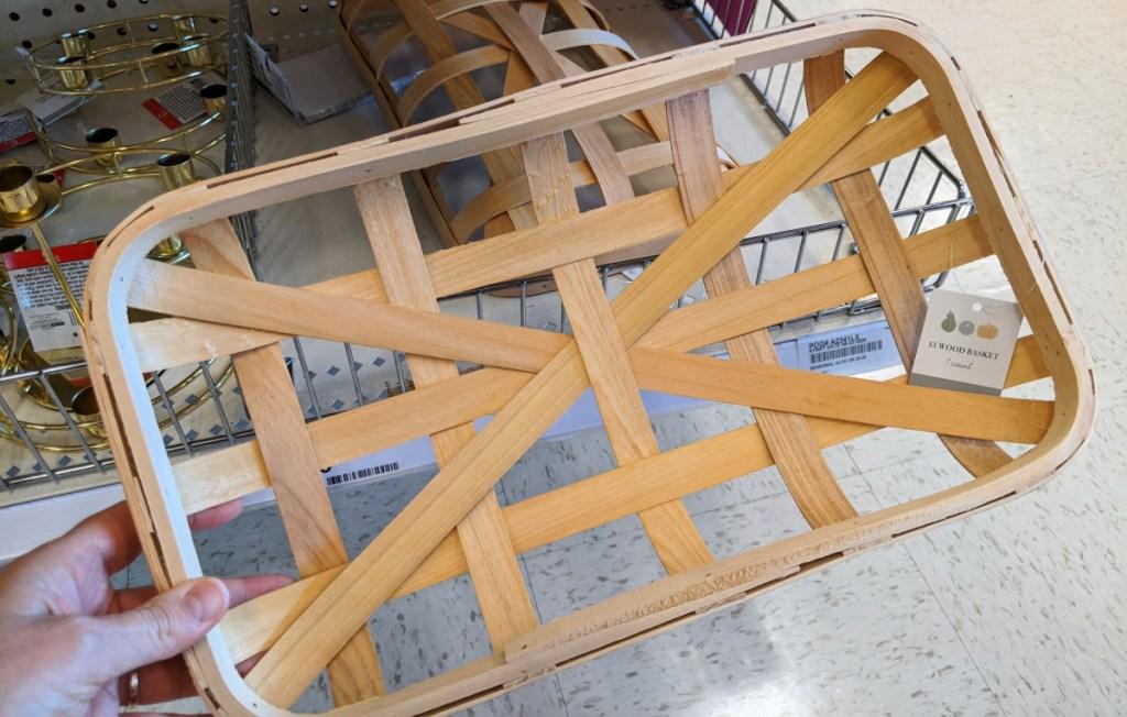 Wood Basket in dollar spot at Target