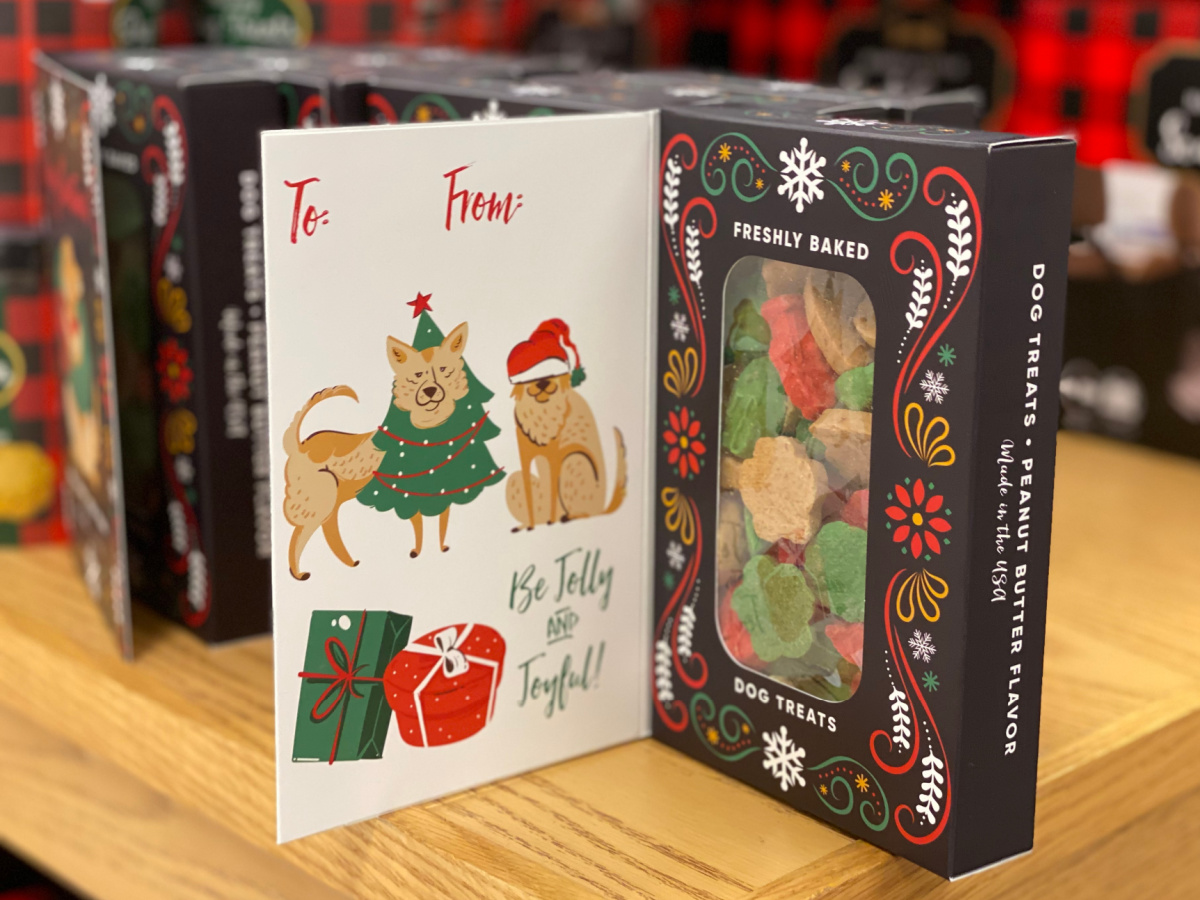 dog treats in greeting card on table in store