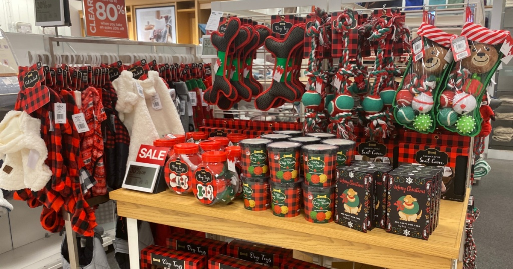 various holiday dog toys and treats on display in store