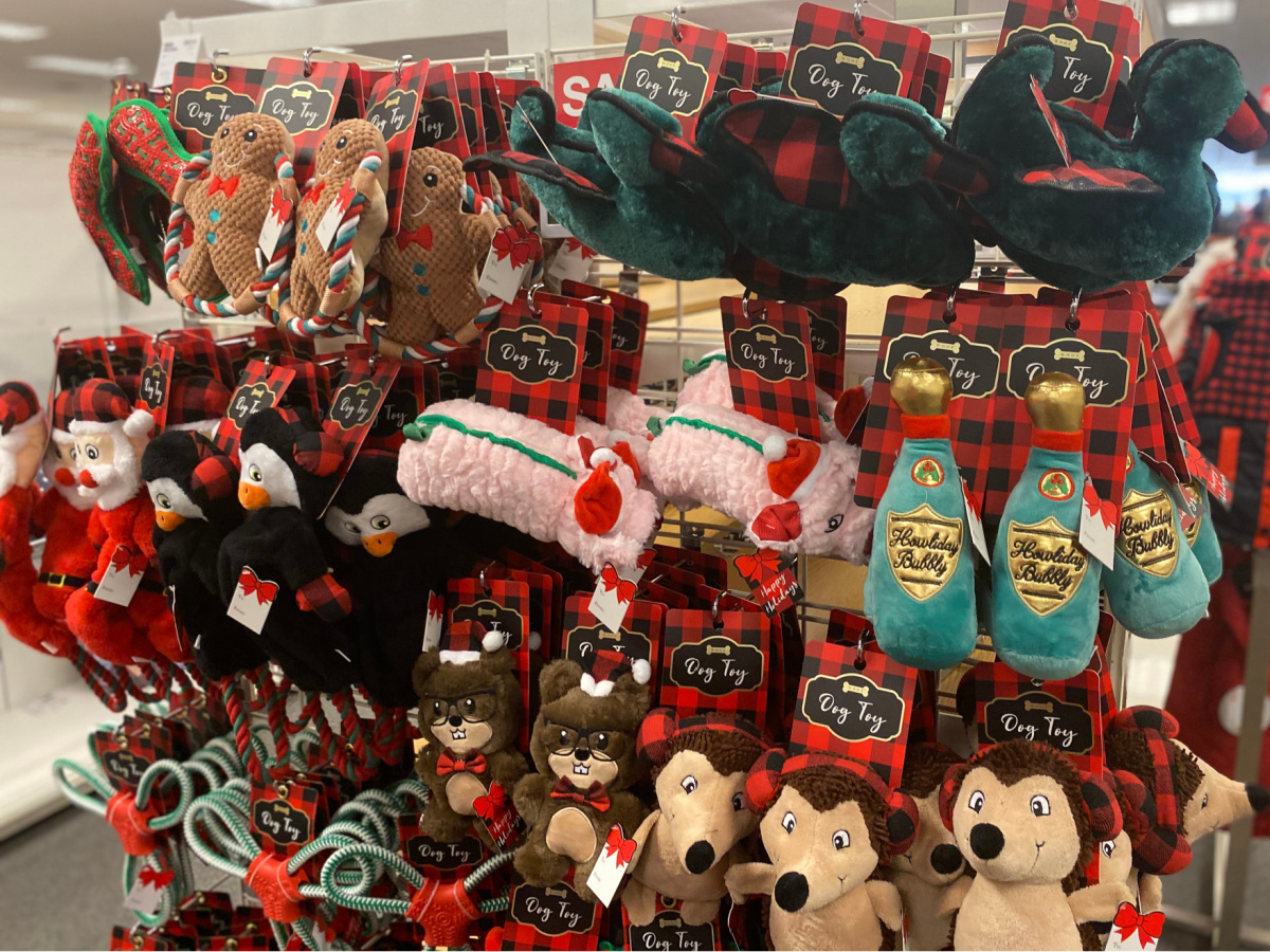 holiday dog toys hanging in store
