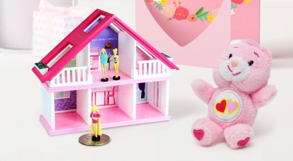 World's Smallest Barbie House next to small Care Bear