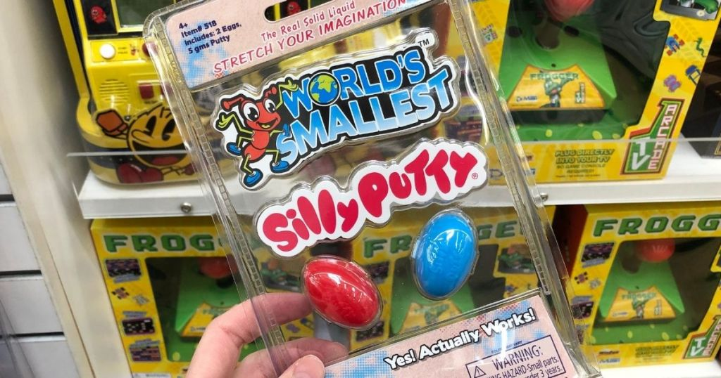 hand holding World's Smallest Silly Putty