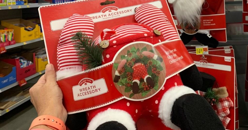 woman holding santa rear Wreath Accessory From Walmart
