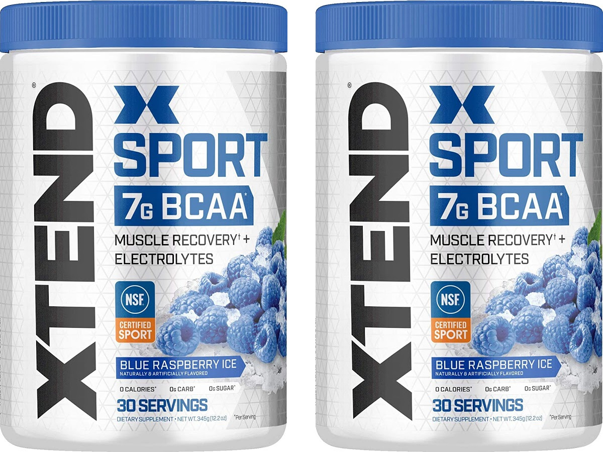 two bottles of XTEND Sport BCAA Muscle Recovery + Electrolyte Powder in Blue Raspberry Ice 30-Servings