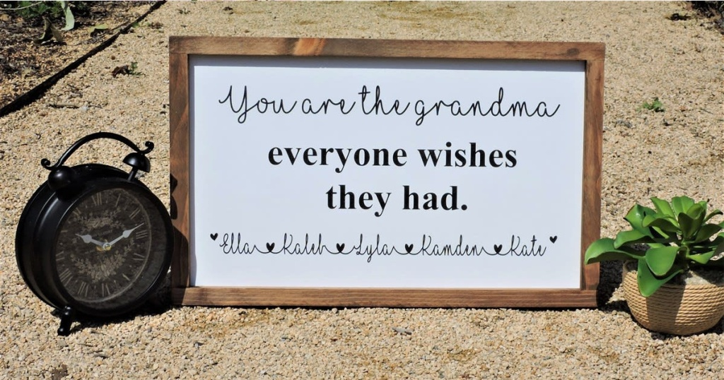 personalized you are the grandma sign in the sand