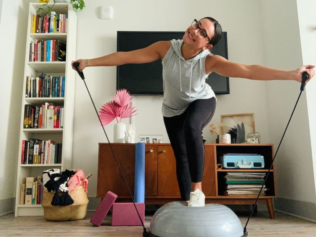 woman working out on balance ball