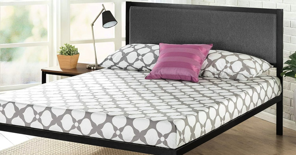 Zinus Korey 14-Inch Steel Platform King Bed Frame with Upholstered Headboard