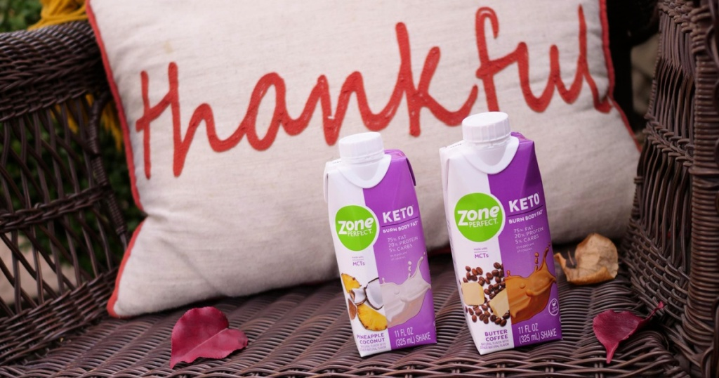 ZonePerfect Keto Shakes on wicker chair with thankful pillow