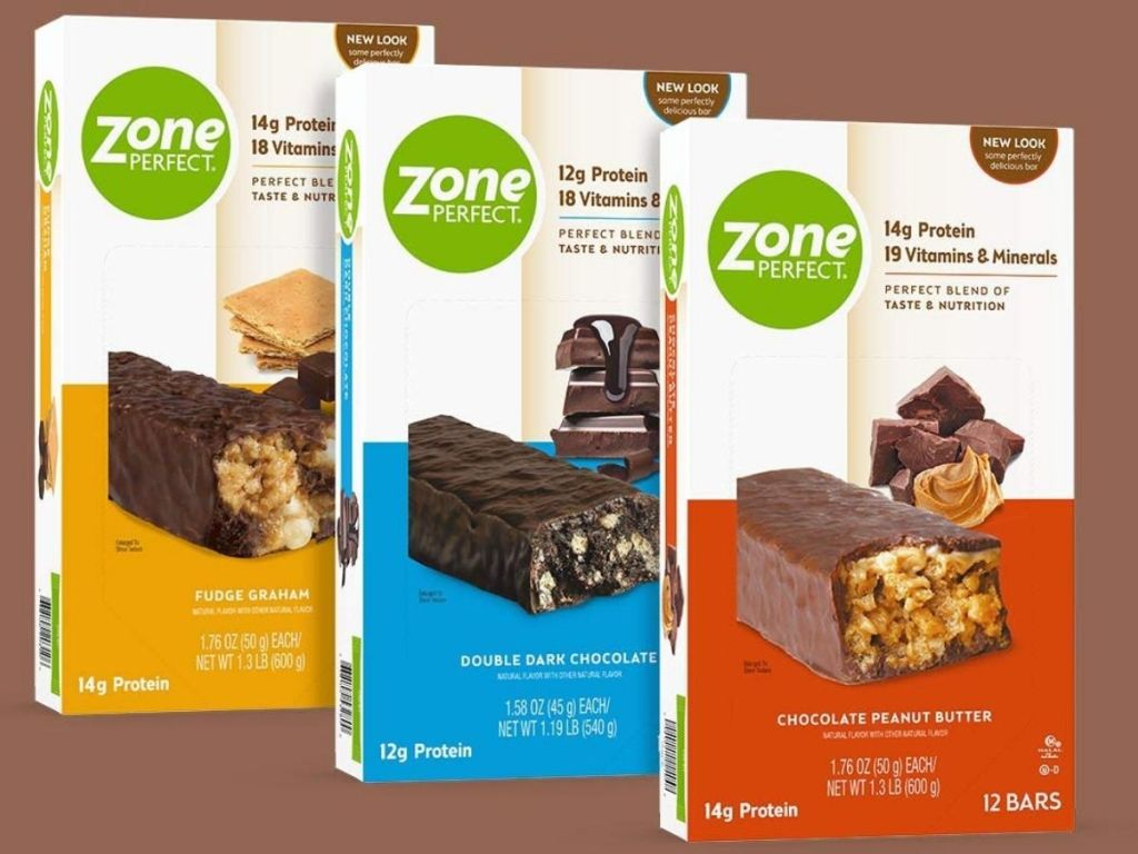 ZonePerfect Protein Bars with brown background