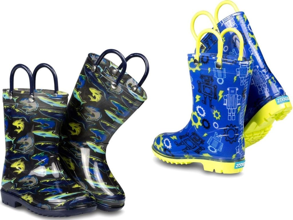 two pairs of boys printed rubber rain boots