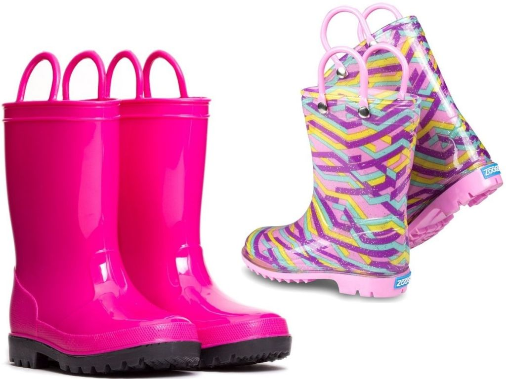 two pairs of girls Zoogs rubber rain boots