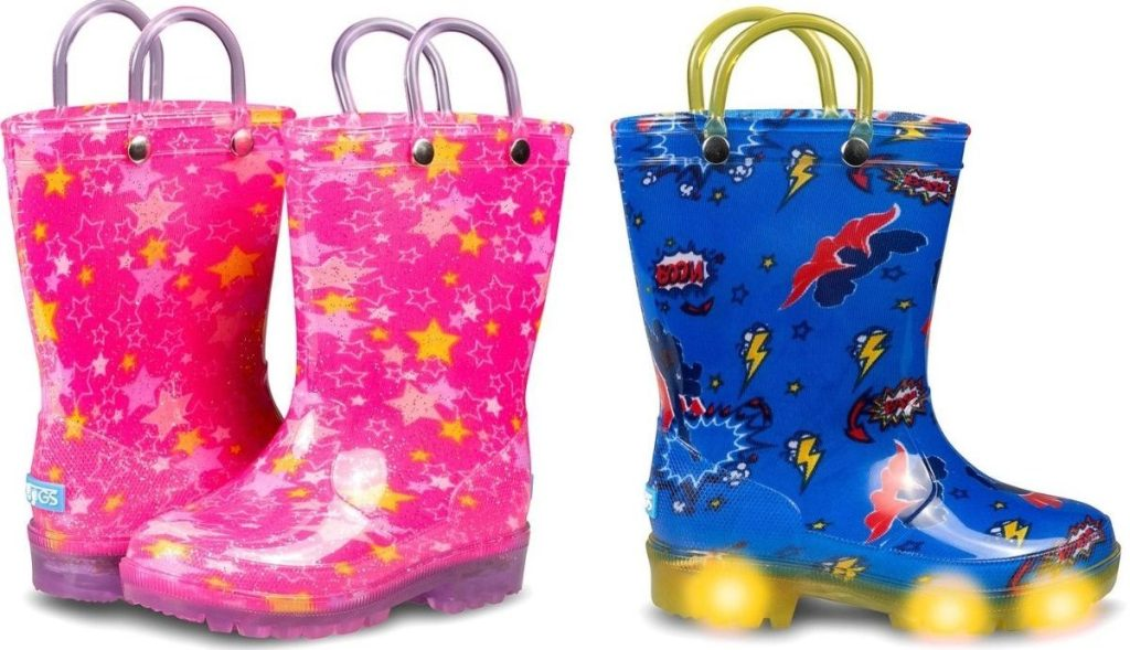two pairs of light up rain boots
