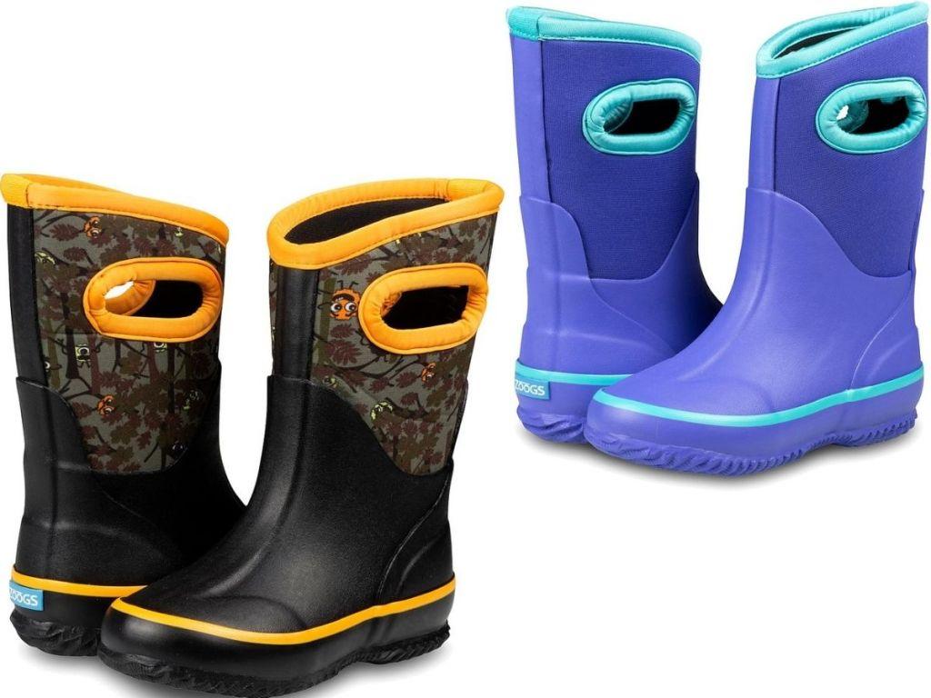 two pairs of neoprene kids boots