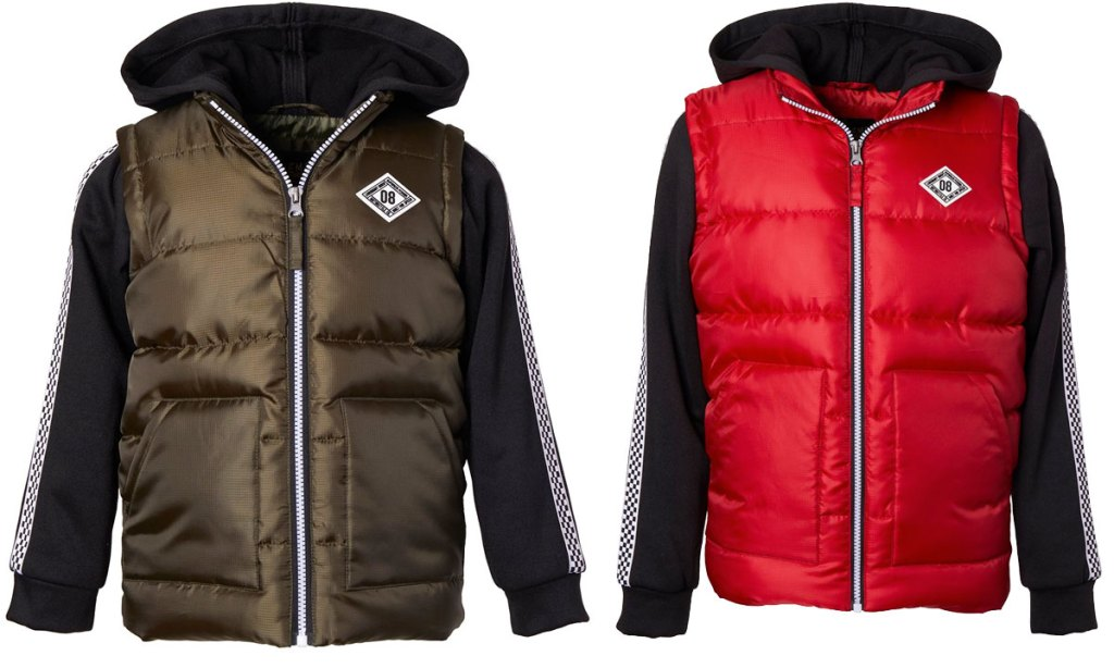 two boys zip-up puffer jackets in olive green and red colors