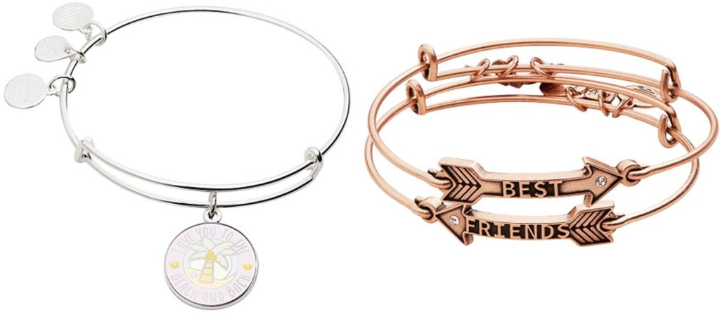 silver bangle bracelet with charm that says love you to the beach and back and two gold best friend arrow shaped bracelets