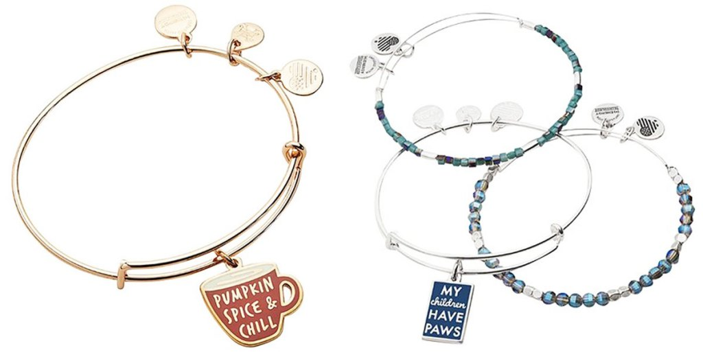bangle bracelets with charms that say pumpkin spice and chill and my children have paws
