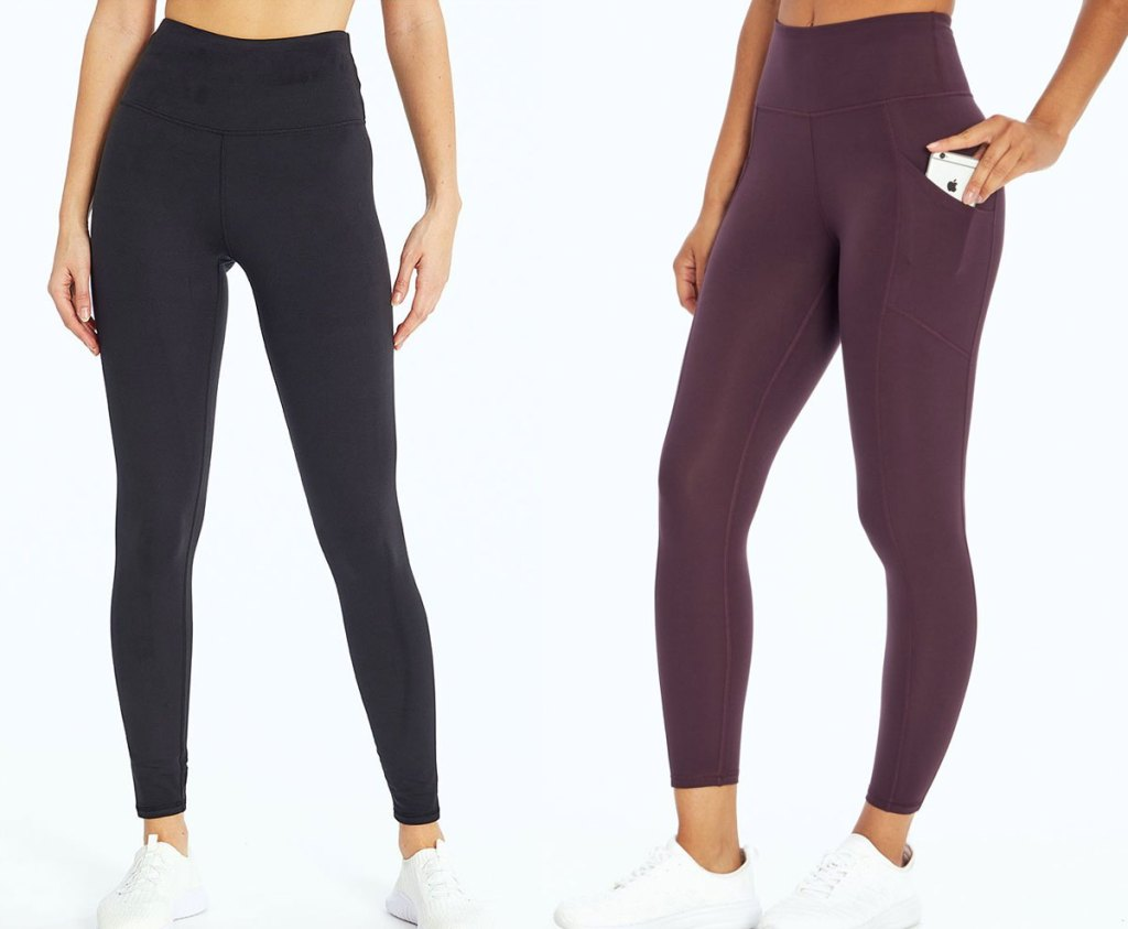 two women modeling workout leggings in black and maroon colors