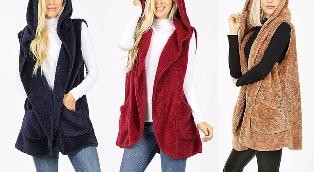 three women modeling faux fur hooded vests in navy blue, red, and light brown colors